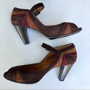 Sofft Gallery leather suede color block heels